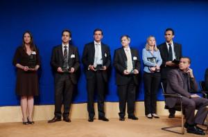 Mercredi 10 juin 2009 – Paris, Ministère de l'Economie –  A l'occasion de la troisième cérémonie nationale de remise, les lauréats du Prix de la Stratégie d'Entreprise et des Palmes de l'Analyse Stratégique. De gauche à droite : Erin Gainer (HRA Pharma), Franck Rougeau (Sparkom), Franck Julien (Atalian-TFN), Hugues Souparis (Hologram Industries), Aline Liénart (UPMC) et Eric Tossah (UPMC) - © Forum de la Stratégie d'Entreprise – Photographe : Bernard Lachaud – DR.