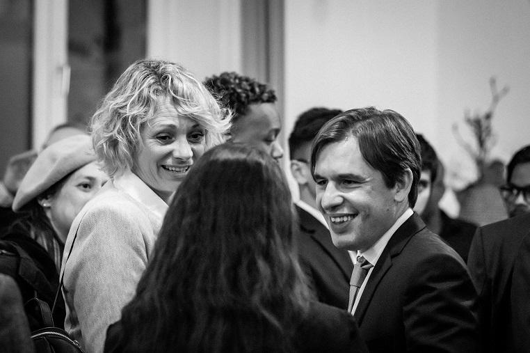 De gauche à droite : la championne olympique Muriel Hermine et Stéphane Jacquemet – Mercredi 17 avril 2019 – © Collection privée - Photographe : Edouard Meyer - Deyer Studio - DR.